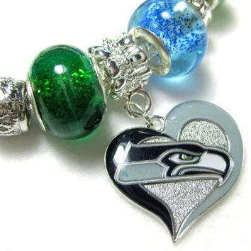Licensed Seattle Seahawks Charm on a European Style Bracelet - SOLD