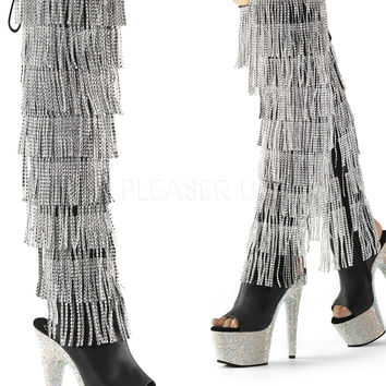 Rhinestone Thigh High Stripper Boot 7 Inch Heels