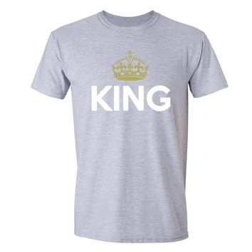 XtraFly Apparel Men's King Golden Crown Matching Couples Crewneck Short Sleeve T-shirt