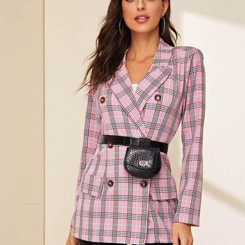Double Breasted Tartan Print Lapel Blazer Without Bag