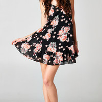 BACKLESS ROSEY DRESS WITH RUFFLED HEM