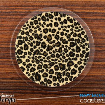 The Cheetah Print Skinned Foam-Backed Coaster Set
