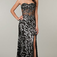 Strapless Long Prom Dress with Illusion Bodice