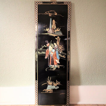 Asian Wall Panel Black Lacquer Ware Mother of Pearl black lacquer, painted mother of pearl