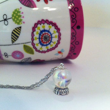 Crystal Ball Pendant Necklace by 3littlegems on Etsy