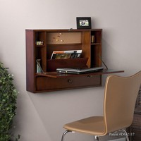 Florien Wall-Mount Brown Mahogany Laptop Desk | Overstock.com