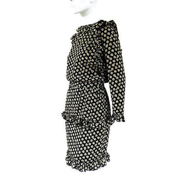 Valentino Silk Dress Black with Cream Roses and Metallic Silver Polka Dots