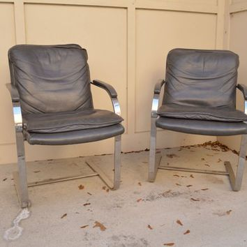 Vintage Leather & Chrome Cantilever Chairs