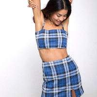 Dina Mini Skirt in Stretch Plaid Blue by Motel