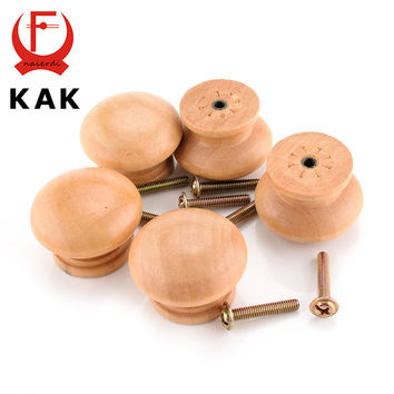 Kak 10Pcs/Lot 3.6X2.6Cm Big Size Natural Wooden Cabinet Drawer Wardrobe Door Knob Pull Handle Hardware Plain Circle Handle