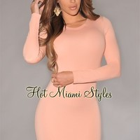 Light Salmon Long Sleeves Body-Con Dress