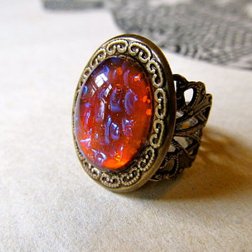 Dragons Breath Ring Mexican Fire Opal Ring Brass Filigree Ring- Lightning