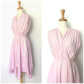 70s Pink Handkerchief Dress - Grecian dress - boho hippie - country wedding - cotton sundress - Medium
