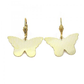 Gold Layered 5.096.009 Dangle Earring, Butterfly Design, Diamond Cutting Finish, Gold Tone