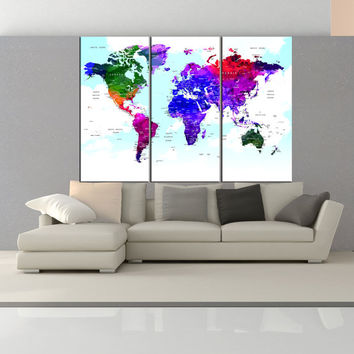 watercolor world map canvas print Push Pin travel map, large world map wall art push pin ready to hang for home decor gift No:6S20