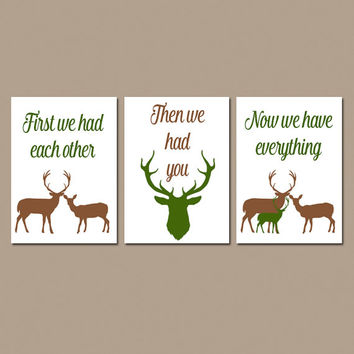 Deer Nursery Art, First We Had You Quote, Brown Tan Hunter, Baby Boy Room, Boy Nursery Wall Art, Set of 3, CANVAS or Prints Baby Shower Gift