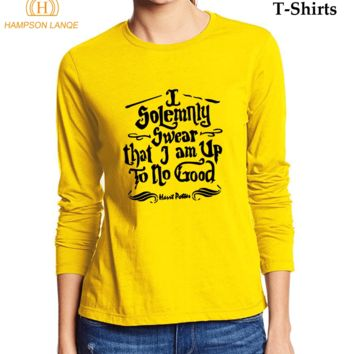 2017 Hot Women Long Sleeve T-Shirt Hogwarts I Solemnly Swear that I am Up To No Good Funny Moive T Shirt Autumn 100% Cotton Tops