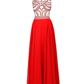 57b44735d7f Dressystar Long Chiffon Prom Dresses Ball Gowns Fully Beaded Bodice Size 2  Red
