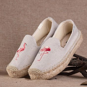 Soludos Flamingo Platform Smoking Embroidery Slipper Thick-bottomed Beige