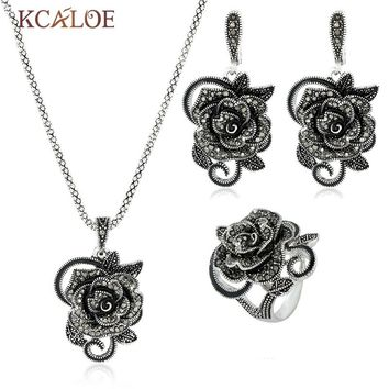 KCALOE Wedding Necklace Earrings Ring Jewelry Sets Vintage Crystal Rhinestone Big Flower Antique Silver Color Jewellery Set