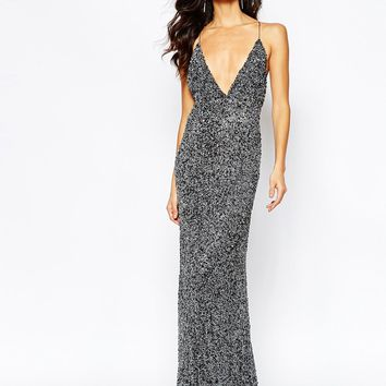 A Star Is Born Luxe Allover Sequin Cami Strap Maxi Dress With Red Carpet Train