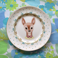 Little Doe Yellow and Green Floral Vintage Illustrated Plate