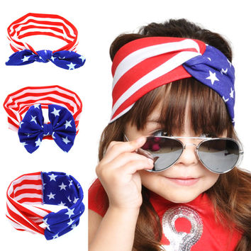 American flag rabbit ear hair band headband [11550527311]