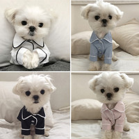 Spring Dog Clothes Pet Pajamas Puppy T-shirts Outfit Animal Soft Cat Clothing for Small Dog French Korean Style Ropa Perro39