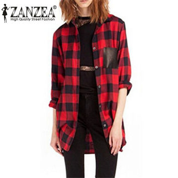 New Style 2016 Womens Classic Black Red Check Plaid Pockets Blouse Long Sleeve Turn Down Collar Tops Shirt Plus Size S-5XL
