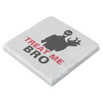 Monster Treat Me Bro funny Halloween customizable Stone Coaster