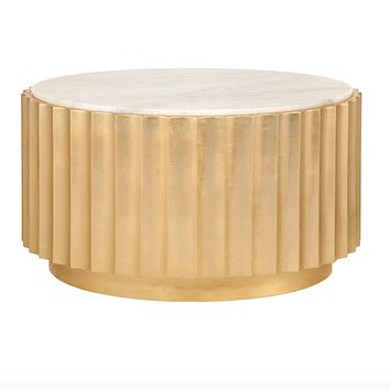 Worlds Away Clove Gold Leaf & Marble Coffee Table