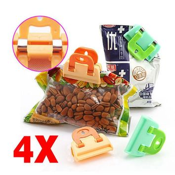 DCCKL72 4PCS Portable ABS Practical Food Sealing Very Strong Clamp Clip Powder Food Package Bag Clip