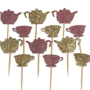 tea party cupcake toppers, kettle, teacup, saucer, muffin decorations, doughnut picks, pink and gold, glitter, 12 pieces