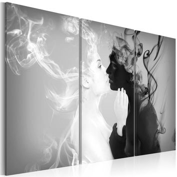 Abstract Smoky Kissing Couple Black And White Portrait Oil Painting Creative Home Decorative Canvas Picture (Size:5 sizes)
