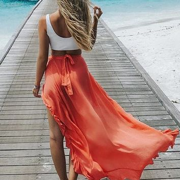 Orange Patchwork Irregular Ruffle Belt Fashion Strand Maxi Skirt