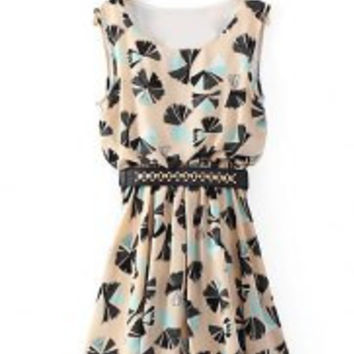 Elegant Women's Scoop Neck Printed Sleeveless Skater Dress