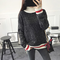 High collar Casual Multicolor Long Sleeve Top Sweater Pullover