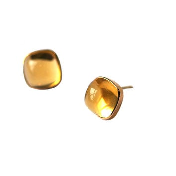 Rectangular Cushion Stud Earrings Citrine