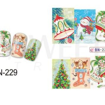 1Sheet Christmas Santa Clause/Bell/Deer Nail Stickers Nail Art Water Transfer Full Wraps Watermark Nail Tips Decals LABN229-240