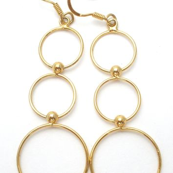 Gold Over Sterling Silver Dangle Earrings