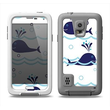The Navy Blue Smiley Whales Samsung Galaxy S5 LifeProof Fre Case Skin Set