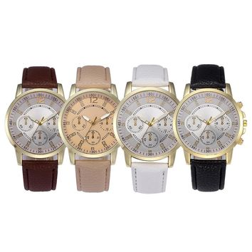 Men Fashion Color Strap Digital Dial Leather Band Quartz Analog Wrist Watches