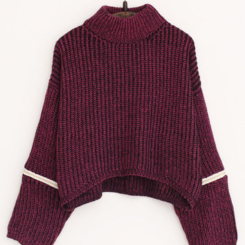 Purple Turtleneck Zipper Cropped Sweater