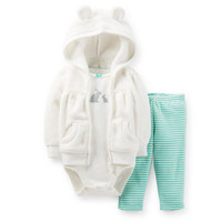 3-Piece Velboa Hooded Cardigan Set