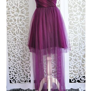 New Women Purple Grenadine Ribbons Bandeau Off Shoulder Backless Bridesmaid Fluffy Puffy Tulle Mini Dress