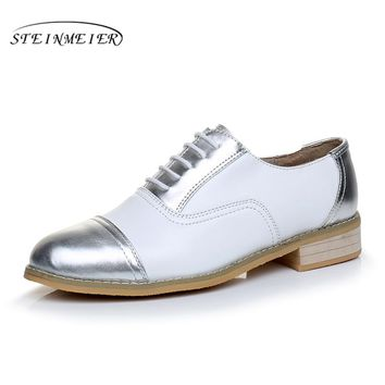 women flat shoes Genuine leather designer vintage flats round toe handmade white silver 2017 oxfords shoes for women fur