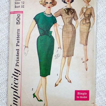 Vintage Pattern 1950s Simplicity 3509 Bust 32 Dress Rockabilly Sewing Wasp Waist Wiggle New Look Pencil skirt wrap waist Belt Cummerbund
