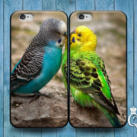 iPhone 4 4s 5 5s 5c 6 plus + iPod Touch 4th 5th 6th Generation Cute Best Friend Couple Bf Gf Hug Kiss Phone Case Funny Bird Parakeet Cover