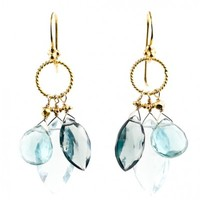 Blue Quartz Trio Cluster Earrings