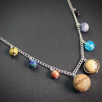 Gemstone Solar System Necklace: Silver // Planet Earth Moon Stars Jewelry // Science Space Travel Nerd // Rocket Star Ship // Scifi // Nerd